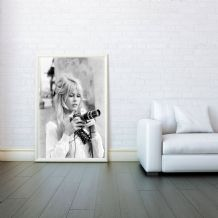 Brigitte Bardot With Camera , Decorative Arts, Prints & Posters, Wall Art Print, Poster Any Size - Black and White Poster